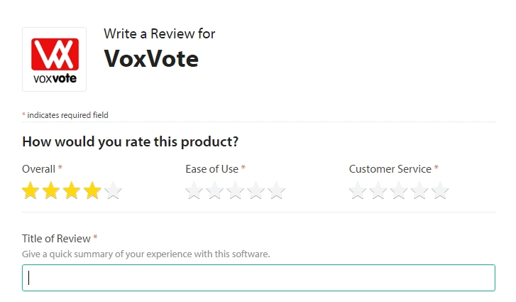 Review Form VoxVote on Capterra